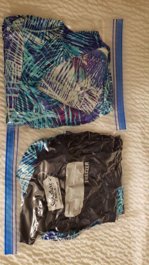 2 swimsuits in a ziplock bag