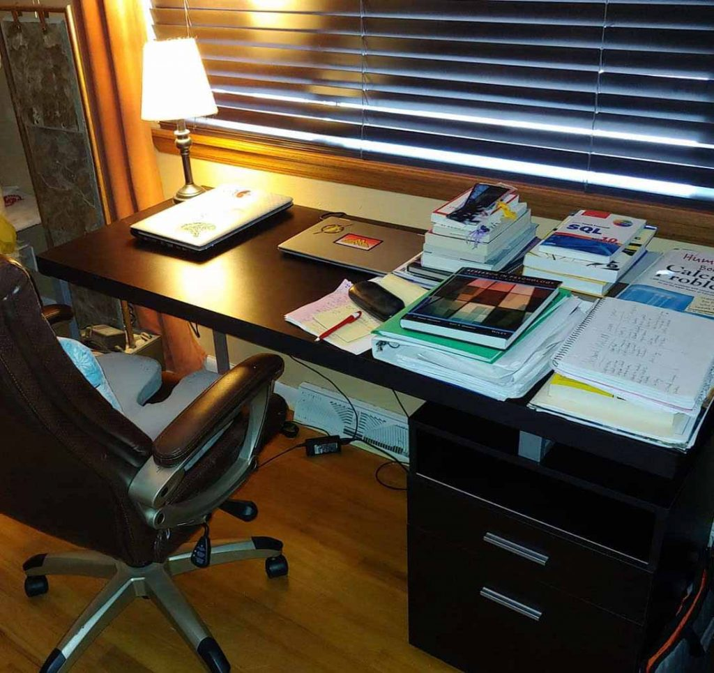 jackie's desk at her home office