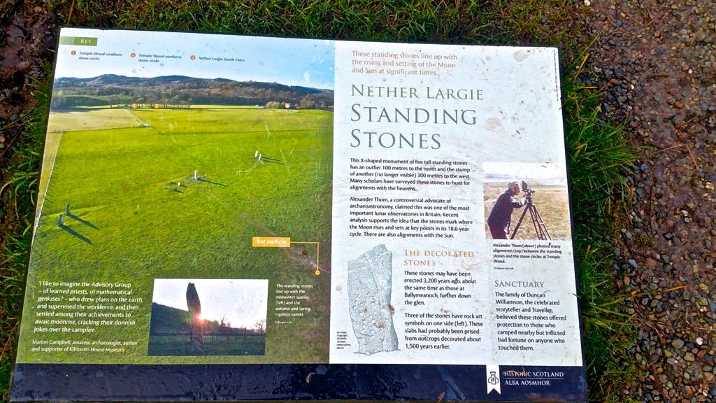 Sign about Nether Largie Standing Stones