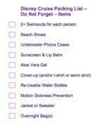 Image of Disney cruise packing list