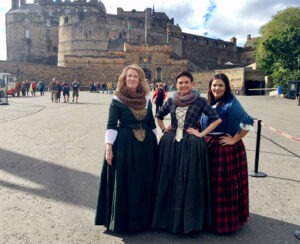 Wearing Costumes in front of Edinburgh Castle