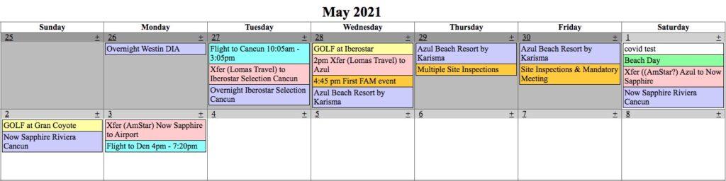 Calendar for Cancun is Calling trip