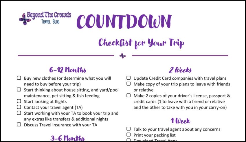 trip countdown checklist